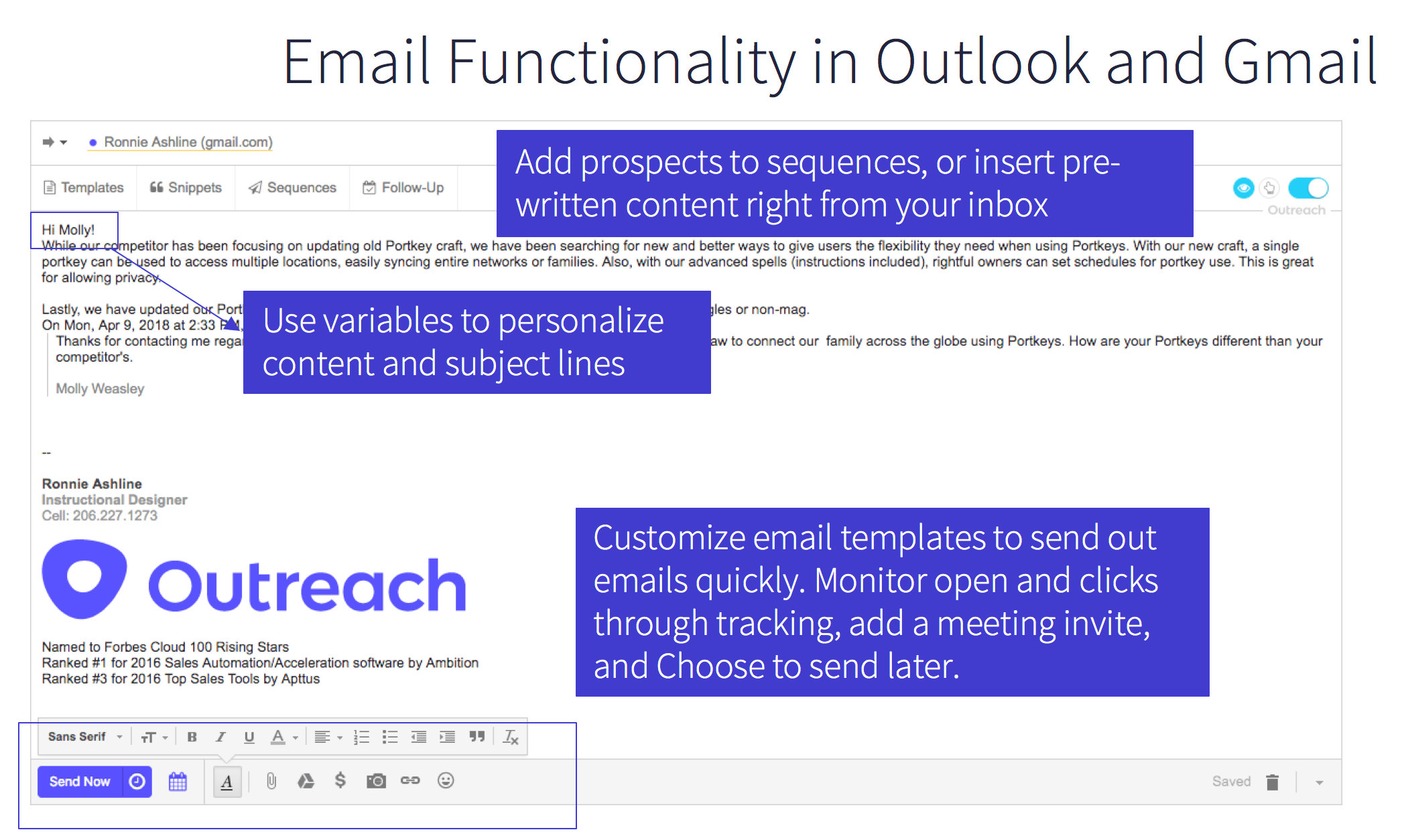 Email Funtionality Outlook Gmail